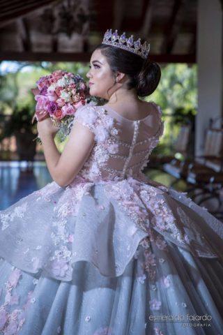 vestidos de xv rosados con manga