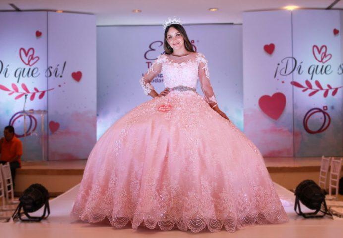 vestidos de 15 años manga larga rosados mexicanos