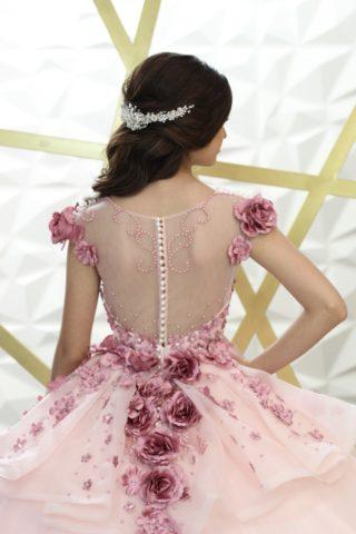 vestido de 15 años en rosado bordados