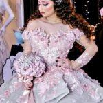 vestidos de 15 años color palo de rosa con encaje bordado 2