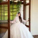 vestidos de novia corte princesa manga larga con encaje bordado